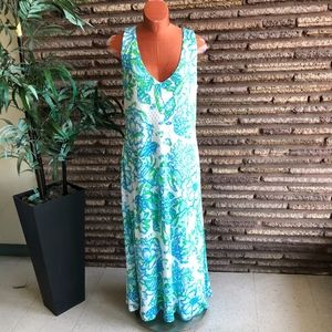 Lilly Pulitzer Knit Turquoise White Maxi Dress